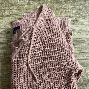 Pink Knit Sweater with Ties